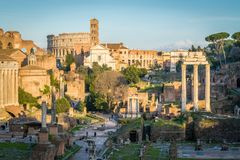 Roman Forum as seen from the Campidoglio Hill. The Roman Forum, also known by its Latin name Forum Romanum, is a rectangular forum surrounded by the ruins of Stock Photography