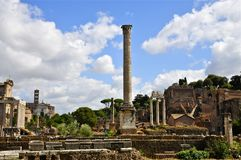Roman Forum. Ancient architectural fragments: Column of Phocas Stock Photography