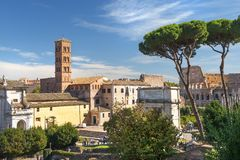 The Roman Forum in ancient Rome, Italy. The Roman Forum view, city square in ancient Rome, Italy royalty free stock photography