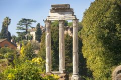 The Roman Forum in ancient Rome, Italy. The Roman Forum view, city square in ancient Rome, Italy stock photos