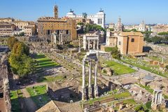 The Roman Forum in ancient Rome, Italy. The Roman Forum view, city square in ancient Rome, Italy stock photo