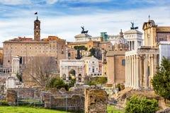 Roman Forum Arch Capatoline Hill-Kolommen Rome Italië Royalty-vrije Stock Fotografie