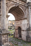 Roman forum arch. Image of the arc of Septimius in the roman forum. Rome, Italy Stock Photos
