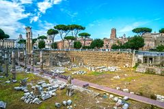 Roman Forum, Italy. Roman Forum Archeological Site on a sunny day, Rome, Italy Stock Image