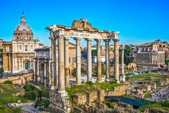Roman Forum, Italy. Roman Forum Archeological Site on a sunny day, Rome, Italy Stock Images