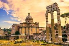 Roman Forum, Italy. Roman Forum Archeological Site on a sunny day, Rome, Italy Stock Photo