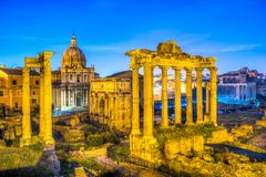 Roman Forum, Italy. Roman Forum Archeological Site on a sunny day, Rome, Italy Royalty Free Stock Image
