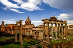 Roman Forum Architecture in Rome City Center royalty free stock image