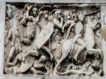 Roman Forum - arco de Constantine Frieze imagem de stock