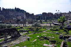 Roman forum. This area served as the center of social life, from everyday human communication evolved into a thematic dialogue, which bears all the hallmarks of Royalty Free Stock Photo