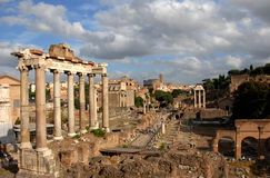 Roman Forum with beautiful sky. The political centre of Ancient Rome Royalty Free Stock Photography