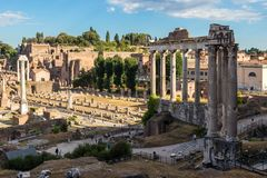 The Roman Forum from ancient times. The Roman Forum, the center of the economic and public life in ancient times, Italy royalty free stock image