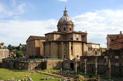 Roman forum Church of St. Luke and Martina, arch of Septimius Capitol hill Catholicism Italy Rome. The famous landmark of the city of Rome Roman forum ancient stock photos