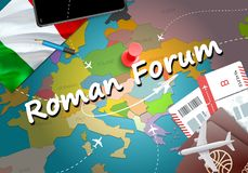 Roman Forum city travel and tourism destination concept. Italy f. Lag and Roman Forum city on map. Italy travel concept map background. Tickets Planes and stock illustration