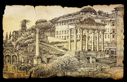 Roman Forum cityscape painted on old paper Stock Photo