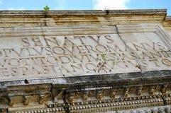 Roman Forum. Close-up of architrave of the Arch of Titus; Forum Romanum, Rome Stock Image