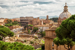 Roman Forum and Coliseum in the distance in Rome royalty free stock photos