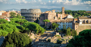 Roman Forum and Colosseum in the distance, Rome Royalty Free Stock Photos