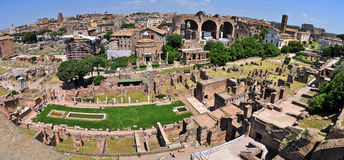 Roman Forum, Rome. Roman Forum and Colosseum panoramic view in Rome, Italy Royalty Free Stock Photography