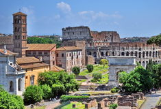 Roman Forum and Colosseum Stock Photos