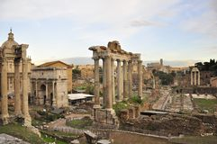 Roman Forum and colosseum ruins Stock Photo