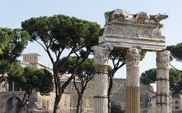 Roman Forum Corinthian Columns - Rome. A set of three Corinthian Columns is the ruins of an ancient temple in the Roman Forum, Rome, Italy Stock Images