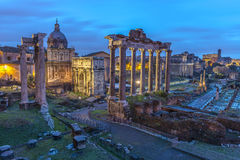 Roman Forum at Dusk Stock Photos