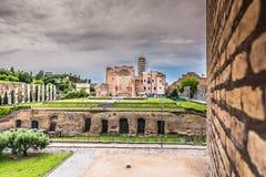 Roman Forum en Italia, señal europea Fotos de archivo