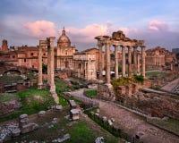 Roman Forum Foro Romano in the Evening, Rome, Italy Stock Images