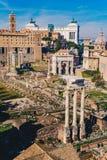 Roman Forum Foro Romano och romaren fördärvar som sett från pet fotografering för bildbyråer