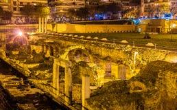 Roman Forum gammalgrekiskamarknadsplats i Thessaloniki Arkivbild