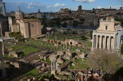 Roman Forum, historic site, city, ancient rome, urban area. Roman Forum is historic site, urban area and archaeological site. That marvel has city, ancient Royalty Free Stock Photo