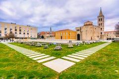 Roman Forum i den Zadar staden, Kroatien arkivbild