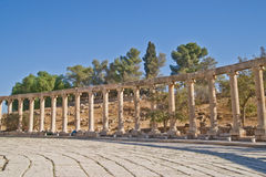 Roman forum in Jerash, Jordan. Unique oval Forum at well preserved and restored ruins of Jerash (Gerasa, Greco-Roman city of Antiquity), Jordan Stock Photos