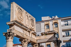Roman forum and modern building contrast Royalty Free Stock Image