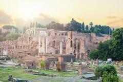 Roman Forum Mooie oude vensters in Rome (Italië) Het oriëntatiepunt van Rome stock afbeeldingen