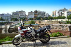 Roman Forum motorcykel Thessaloniki Royaltyfria Bilder
