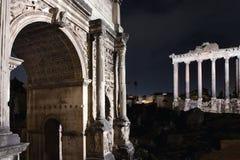 Roman Forum by night Stock Photo