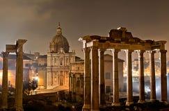 Roman forum by night Royalty Free Stock Image