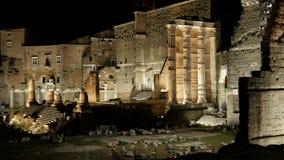 Roman forum at night, rome, italy, 4k stock footage