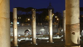 Roman forum at night, rome, italy, 4k stock video footage