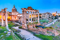 Roman Forum at night , Rome in Italy Royalty Free Stock Image