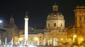 roman forum på natten, rome, Italien, 4k lager videofilmer