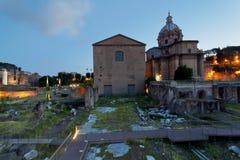 Roman Forum på solnedgången Arkivbild