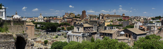Roman Forum Panoram Rome arkivbilder