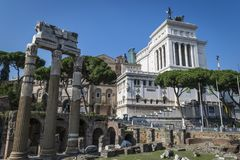 Roman Forum ruins in Rome, Italy. The Roman Forum is a rectangular forum surrounded by the ruins of several important ancient government buildings at the center Stock Photography
