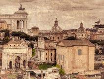 Roman Forum. Retro toned. Roman Forum. Monument of Vittorio Emanuele II, Arch of Septimius Severus and Church of Saints Luke and Martina. Retro toned Stock Image