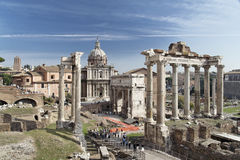 Roman Forum Rome. The Roman Forum, the ruins of several constructions Royalty Free Stock Photos