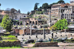 Roman Forum, Rome. Ruins of the Roman Forum (Foro Romano) in Rome, Italy - high dynamic range HDR stock images