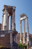 Roman forum in Rome. (Temple of Vesta and Temple of Castor and Pollux Stock Images